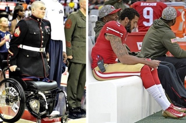 A legless vet in a wheelchair stands for the anthem. Colin Kaepernick sits it out. (Pinterest, screenshot)