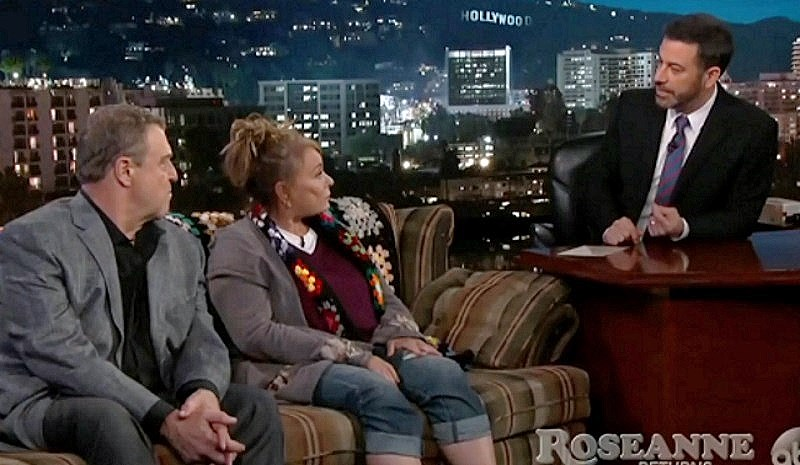 Roseanne Barr, Trump supporter, curses Jimmy Kimmel and gives him the finger