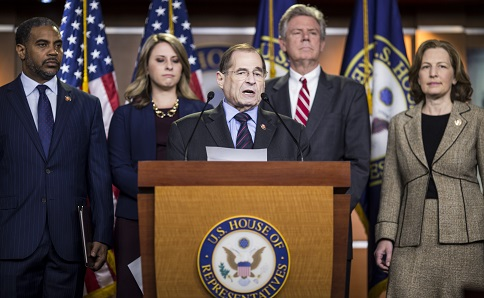 WASHINGTON, DC - APRIL 09: House Judiciary Committee Chairman Rep. Jerry Nadler (D-NY) speaks during a news conference on April 9, 2019 in Washington, DC. House Democrats unveiled new letters to the Attorney General, HHS Secretary, and the White House demanding the production of documents related to Americans health care in the Texas v. United States lawsuit. Also pictured are Rep. Steven Horsford (D-NV), Rep. Katie Hill (D-CA), House Energy and Commerce Committee Chairman Rep. Frank Pallone (D-NJ), and Rep. Kim Schrier (D-WA). (Photo by Zach Gibson/Getty Images)