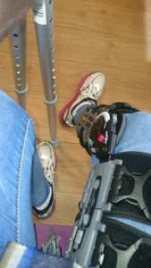 Sitting in the hospital reception willing myself to get up and make my way home in crutches