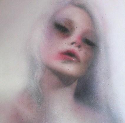 Marco Rea, La dama bianca, pittura spray su manifesto pubblicitario