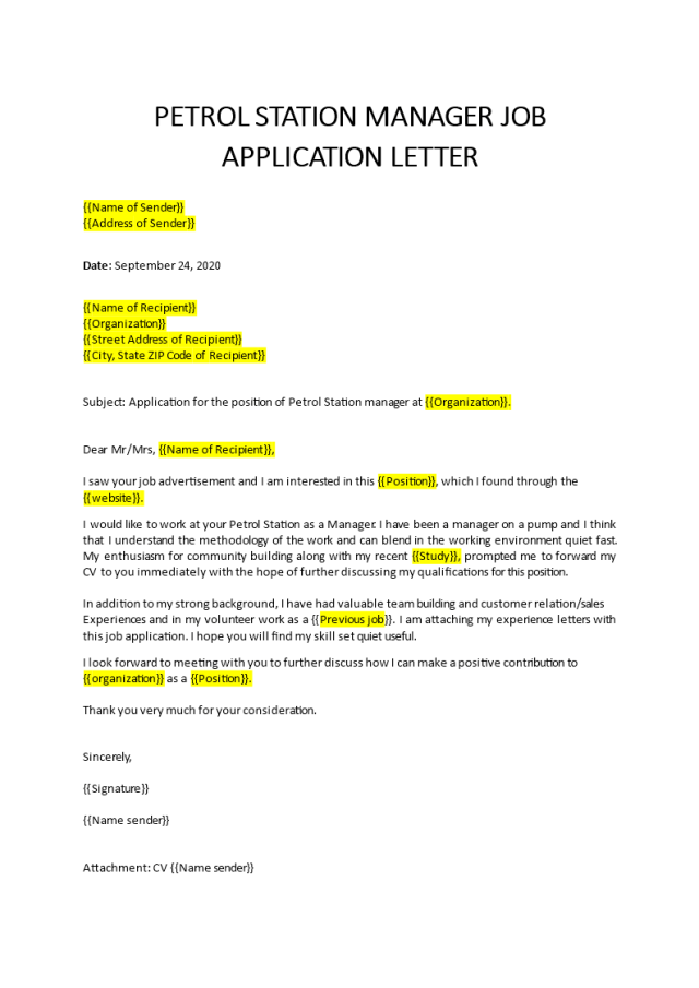 Petrol Station Manager Cover Letter