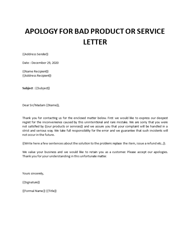 Sample apology letter to customer for bad product