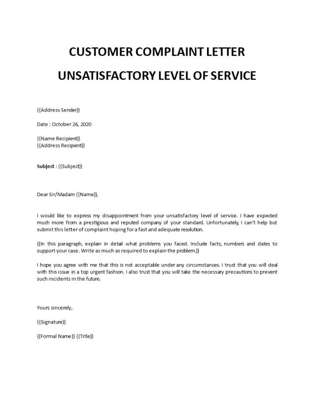 Customer complaint letter