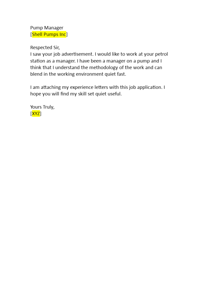 Job Application to Work at a Petrol Station