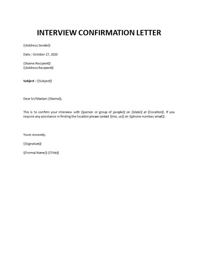 Job interview invitation email