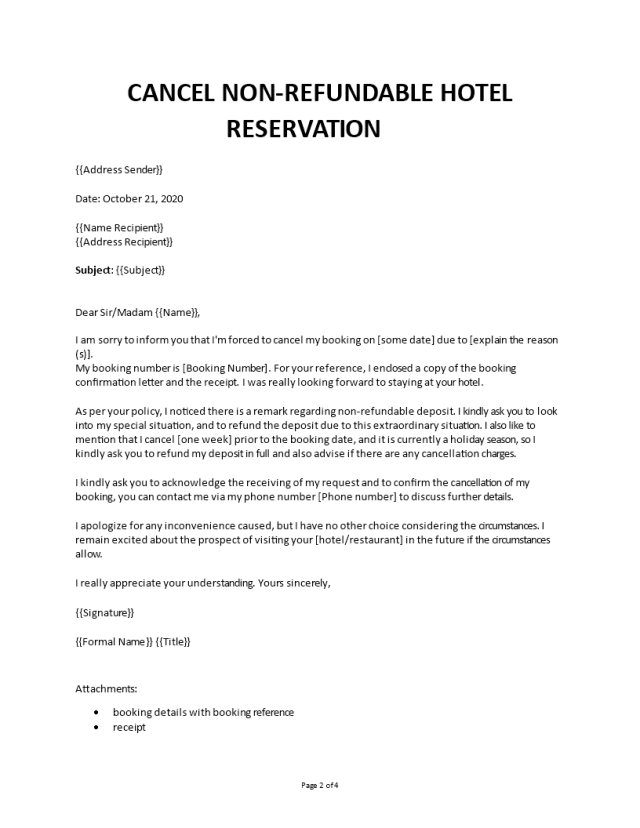Cancel non refundable hotel reservation