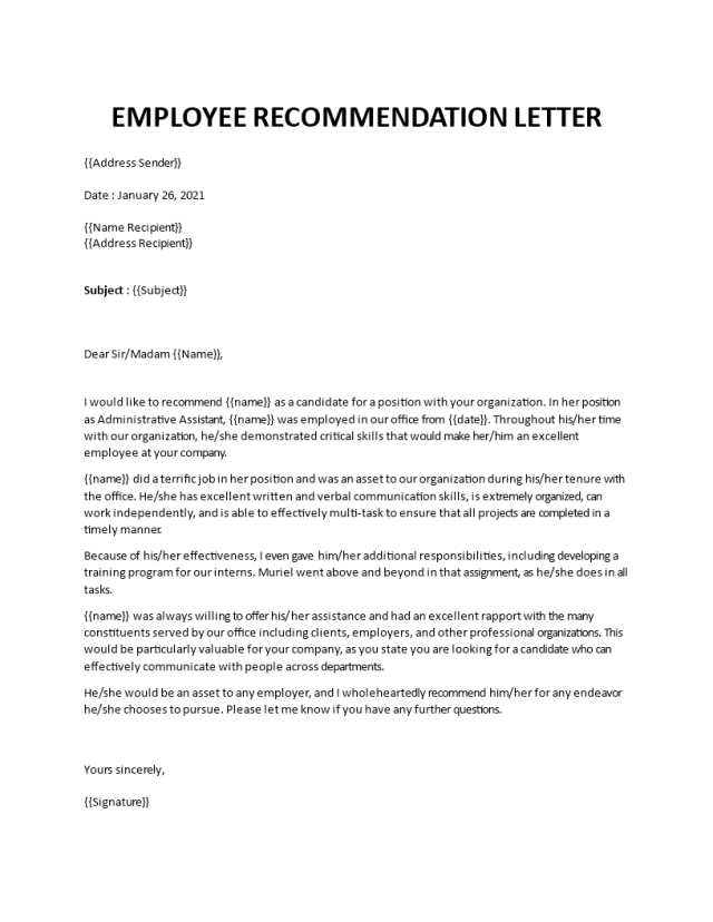 Recommendation letter from an employer