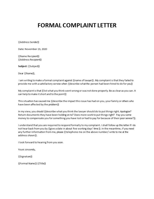 Formal Complaint Letter template