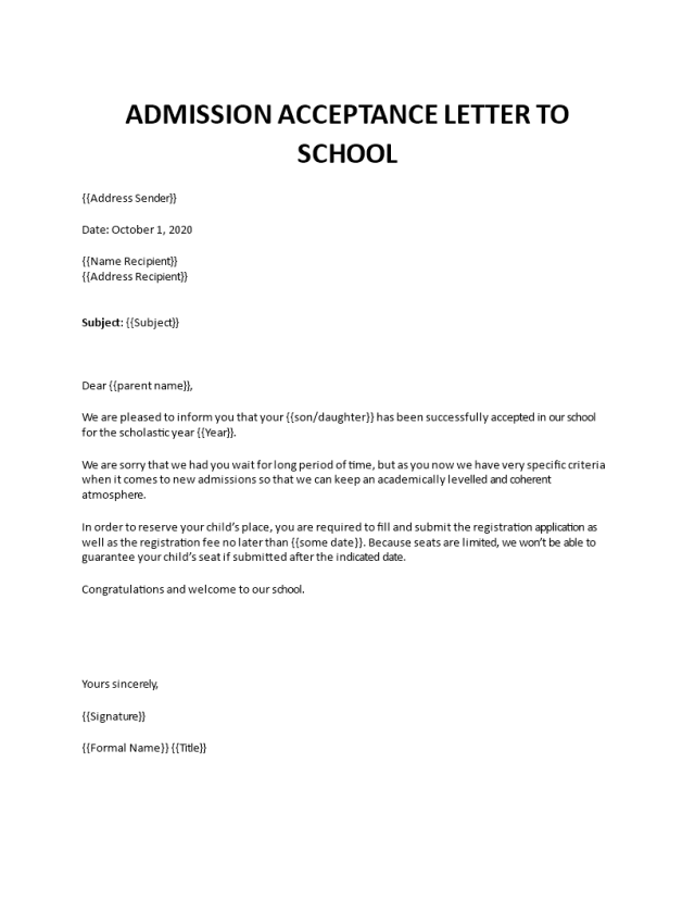 Admission acceptance letter to school