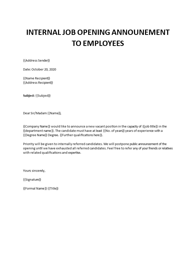 Welcoming employee's full name to department name. Internal Job Opening Announcement To Employees