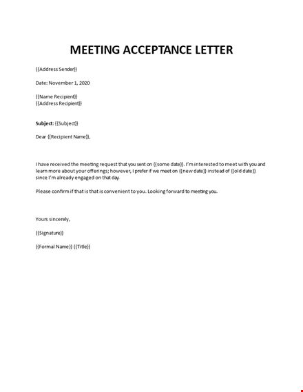 meeting acceptance email sample