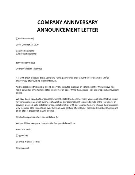 company anniversary announcement invitation letter