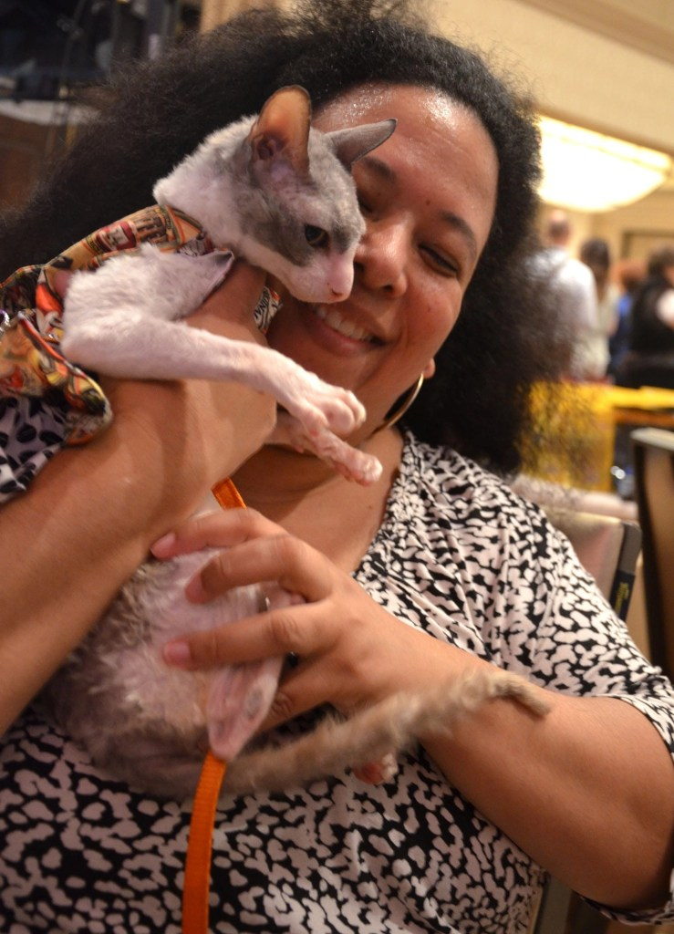 Carol CHo Meir with her Cornish Rex