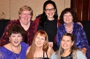 Front row, Amy Shojai, Dusty Rainbolt, Dr. Lorie Huston; back row, Su Ewing, Angie Bailey, and BJ Bangs