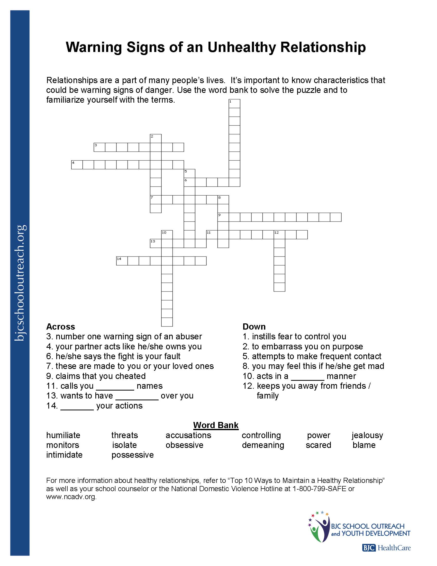 Healthy And Unhealthy Relationships Worksheets