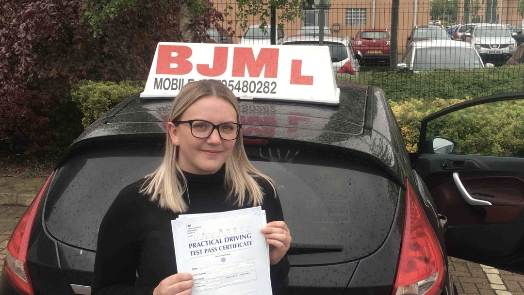 Congratulations Jade on passing your driving test with BJM School of Motoring
