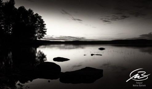 Solnedgång i svartvitt
