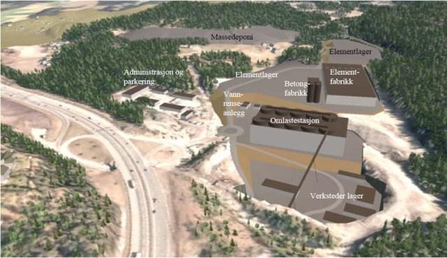 Forslag til riggområde på Åsland (Illustrasjon: Jernbaneverket)