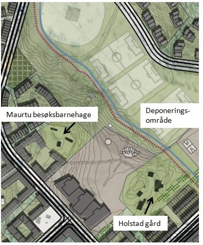 Situasjon for Maurtu besøksbarnehage og Holstad gård. (Illustrasjon: Plan- og bygningsetaten med tekst av Sven Brun)