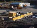 Sedimentering og renseanlegg for anleggsvann med lagertelt i bakgrunnen (foto: Sven Brun)