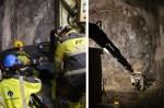 For å tette sprekker i fjellet i tunnelen, pumpes det inn betong gjennom mange hull boret inn i fjellet. (foto: Jernbaneverket)