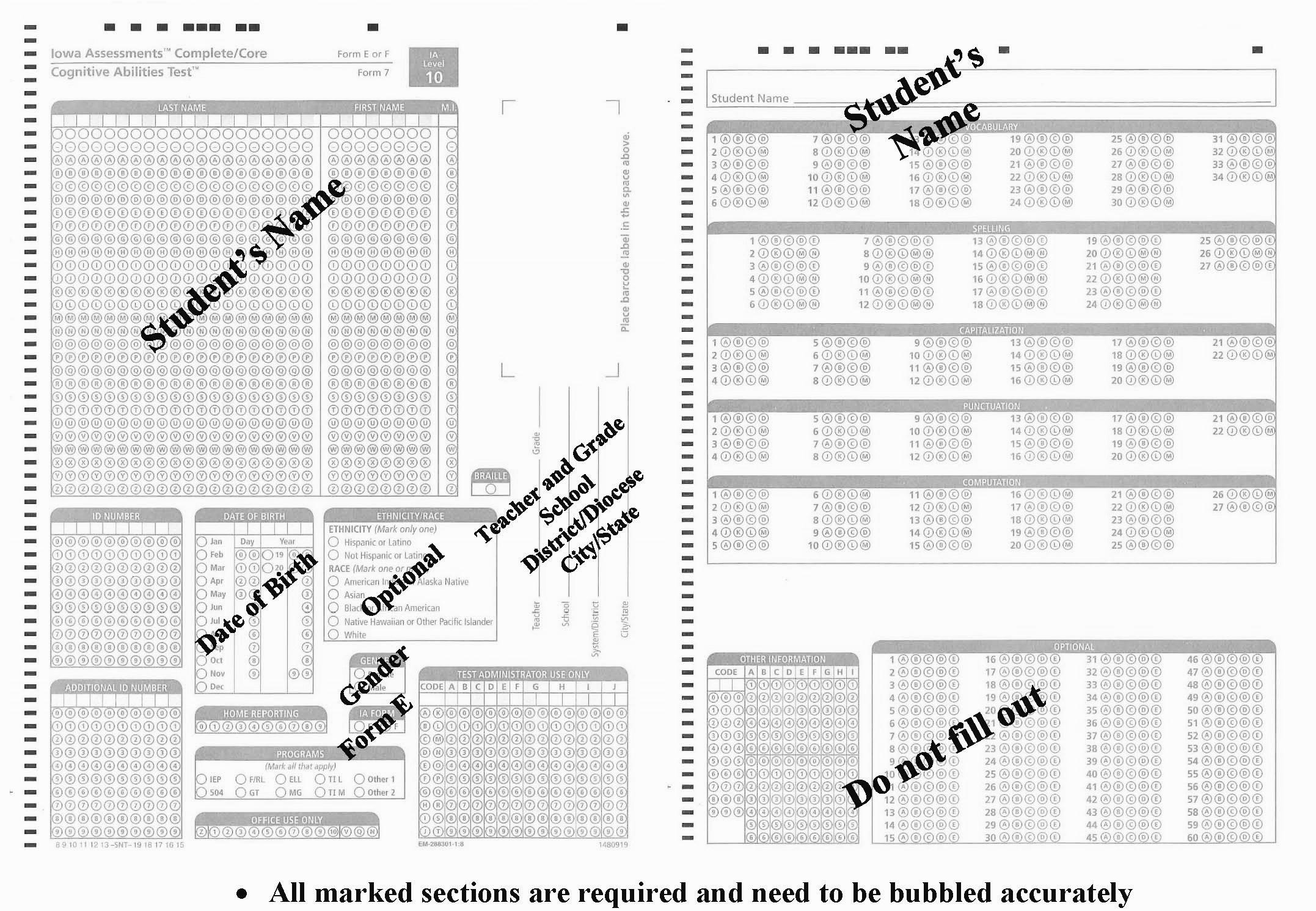 Form E Checklist Form E Sample Document