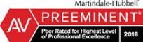 Martindale-Hubbell PREEMINENT AV Peer Rated for Highest Level of Professional Excellence 2018