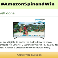 Amazon Spin and win Samsung 4K Smart TV