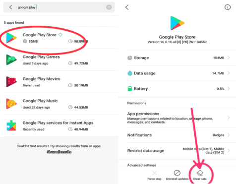 google play store clear data