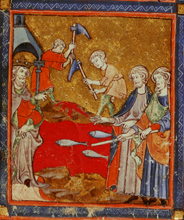 Moses and Aaron by the river of blood, Add.27210, f.11