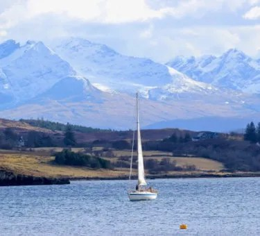 Yacht at anchor, Carbost, Isle of Skye