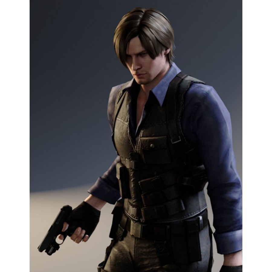 2016 Resident EVIL 6 Leon Kennedy PU Faux Vest Leather Cosplay Costume 6bbe53603728