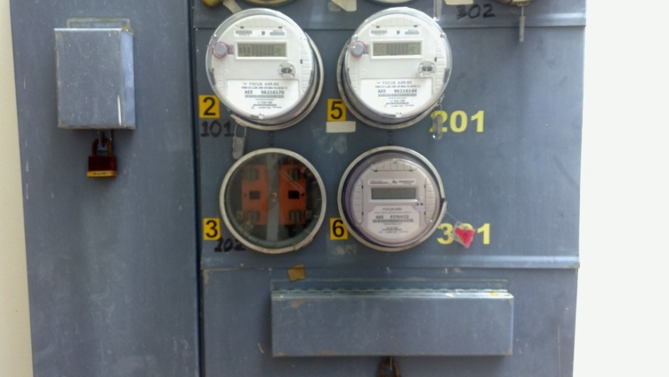 picture of our electrical meters and switches which were switched on and off on our fourth day in puerto rico