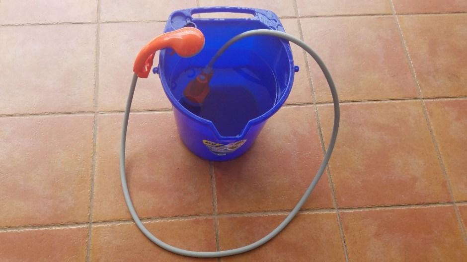 diy backup water storage handheld battery powered showerhead and bucket