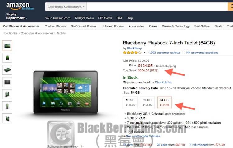 BlackBerry Playbook 7-Inch Tablet (64GB) Amazon 海淘價1.9折低至美金 $108