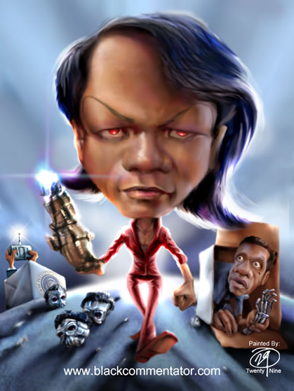 Condoleezza Rice, the warmonger, cartoon from the Black Commentator