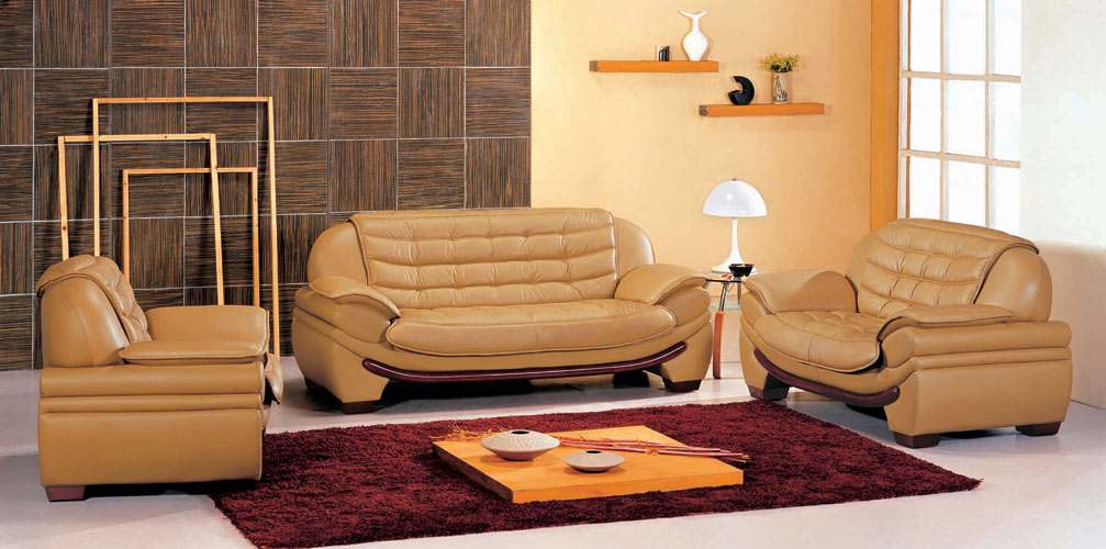 7174 Contemporary Camel Leather Living Room Set Black Design Co