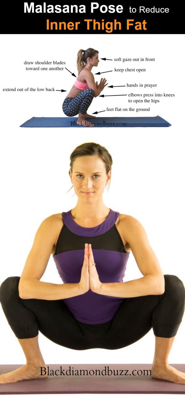 Malasana Yoga stwarza dla zmniejszenia wewnętrznego tłuszczu z uda