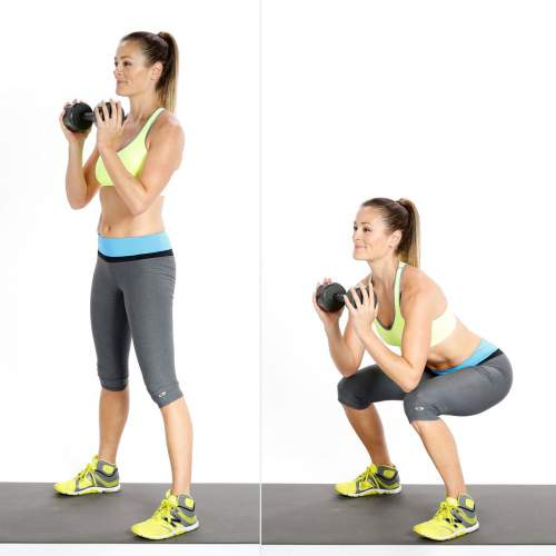 goblet squat -10 Exercises For Smaller Waist, Big Hips and Flat Stomach