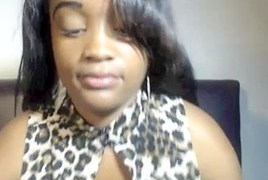 Chubby black girl shows off big boobs and ass on webcam