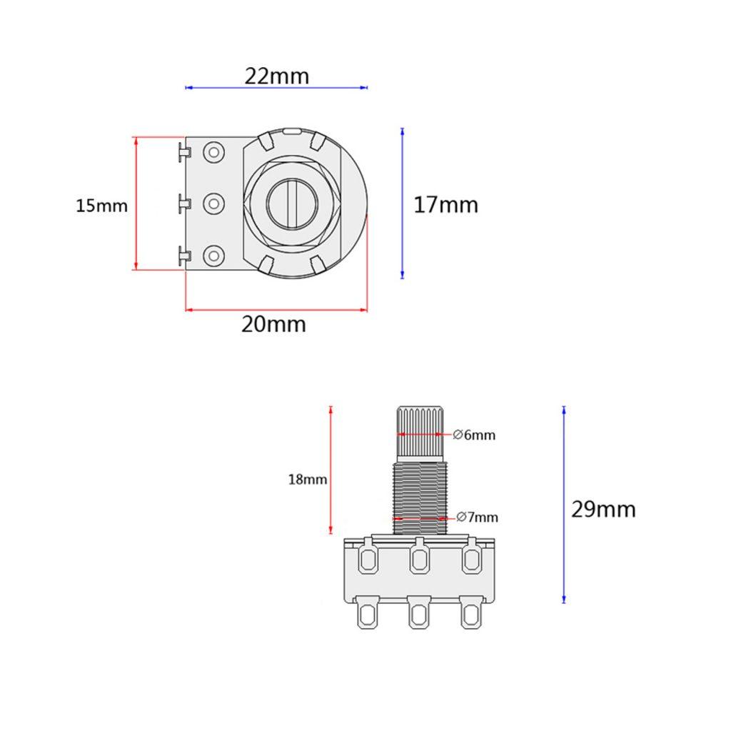 Dual Blend Balance Guitar Potentiometer Mn500k Mn250k