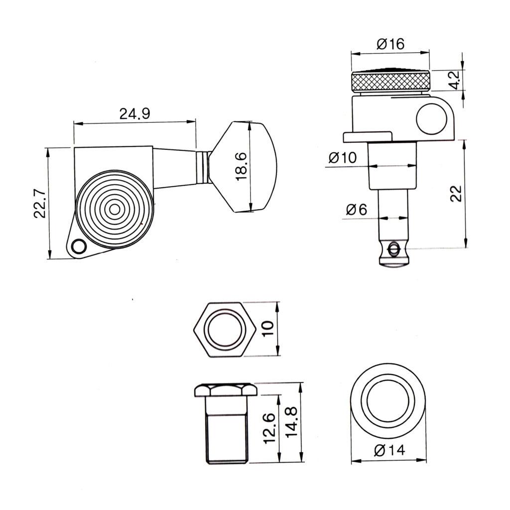 Black Locking Machine Heads Tuners 6 Line