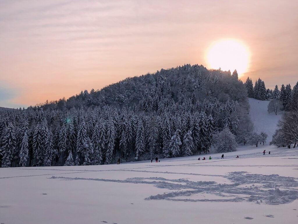 Zonsondergang Schwabische Alb winter
