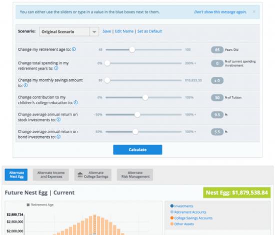 myFinancialAnswers financial planning platform what if analysis dashboard