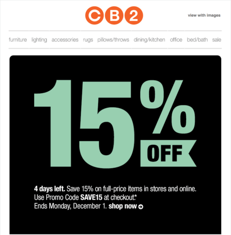 cb2 black friday ad scan - page 1