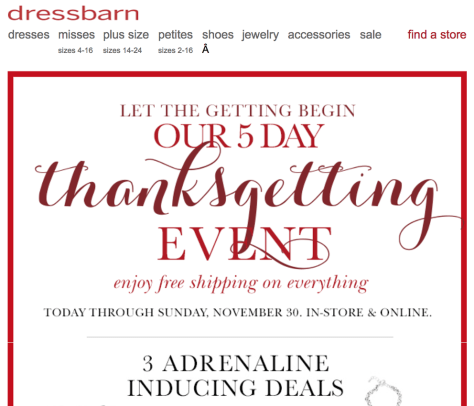 dressbarn black friday ad scan - page 1