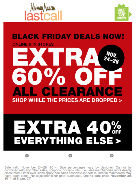 Neiman Marcus Last Call black friday ad scan - page 1
