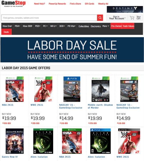Gamestop Labor Day Sale 2015 - Page 1