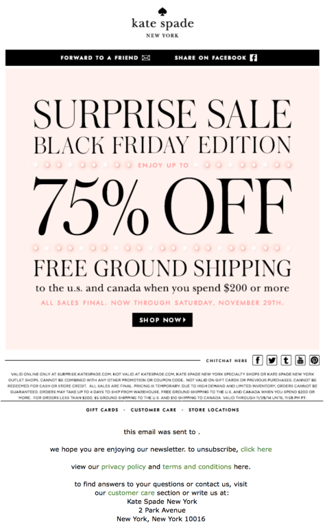 Kate Spade Black Friday Ad - Page 1